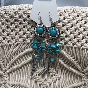 Boho dangle earrings embellished with Swarovski